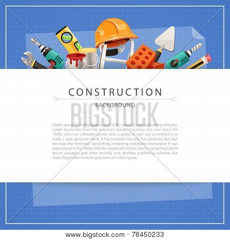 Blueprint Construction Background with Copy Space