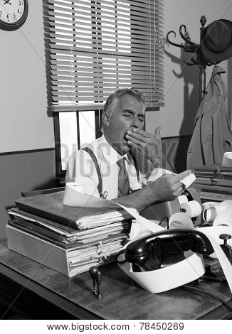 Tired Overworked Accountant In Office, 1950S Style