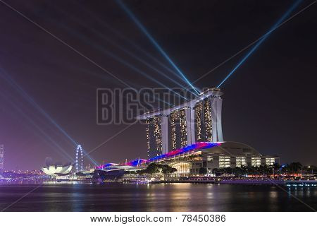 Singapore Marina Bay Sands Resort Illumination At Night