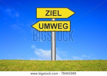 Yellow Sign Target Detour