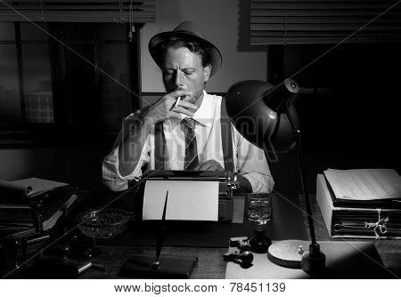 Retro Reporter Working Late And Smoking