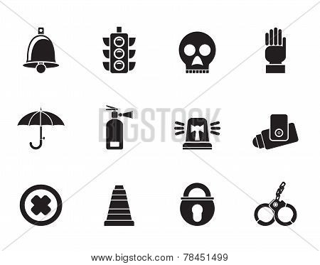 Silhouette Surveillance and Security Icons
