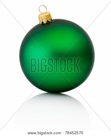 Green Christmas Ball Isolated On White Background