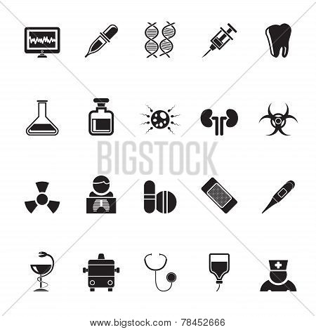 Silhouette Healthcare, Medicine and hospital icons