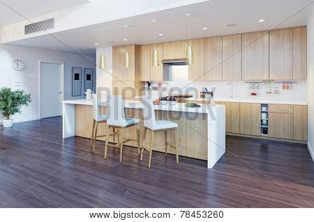 3D Rendering of a modern kitchen interior with kitchen island (CG concept)