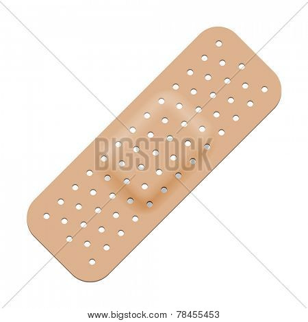 Medical adhesive bandage isolated on white background.