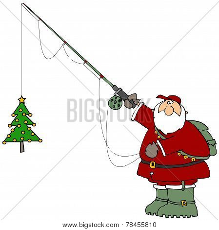 Santa catching a Christmas tree
