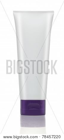 White tube of cream or gel. Cosmetics.