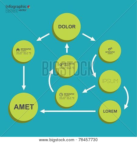 Corporate organization chart template with round elements.