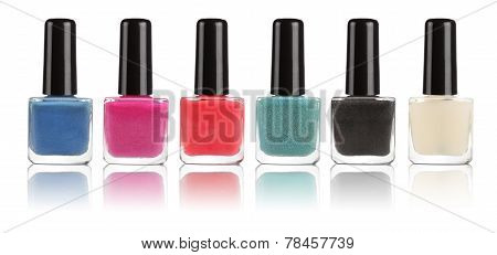 Group of bright nail polishes