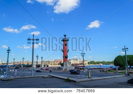 Rostral columns on the spit of Vasilyevsky island