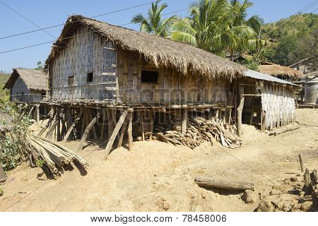 Traditional Marma hill tribe building exterior, Bandarban, Bangladesh.
