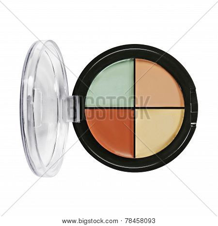 Eye shadows and blush. Plastic cas