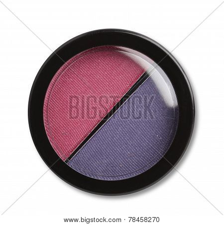 Eye shadows and blush. Plastic case.