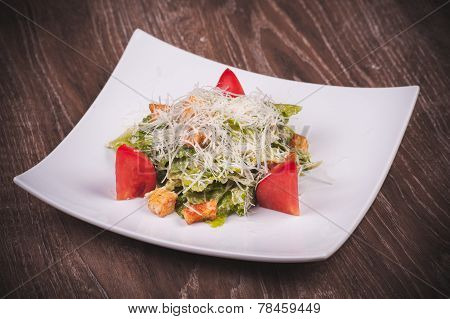 Vegetarian Cesar Salad With Tomato, Croutons And Cheese
