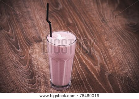 Pink Milk Shake In Glass