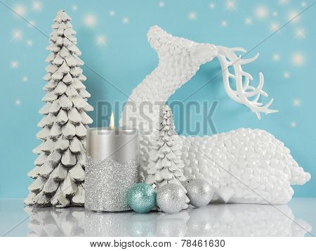 Pale Aqua Blue, Silver And White Christmas Scene With Reindeer, Christmas Trees, Candle And Bauble O