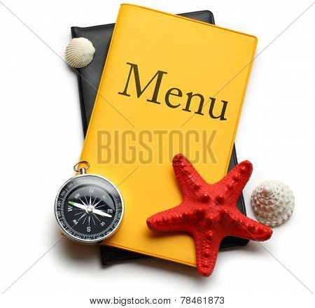 Yellow Menu Book, Seastar And Seashells