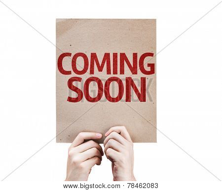Coming Soon card isolated on white background