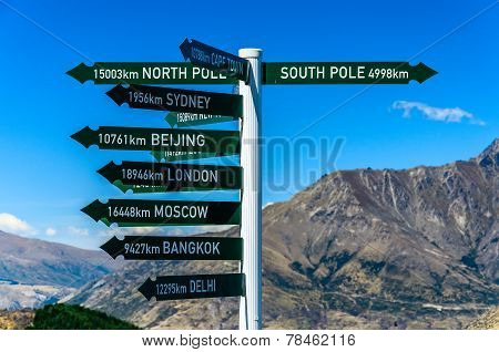 Direction Sign To Famous Cities