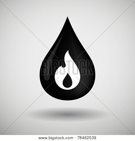 Oil Drop Icon With Flame