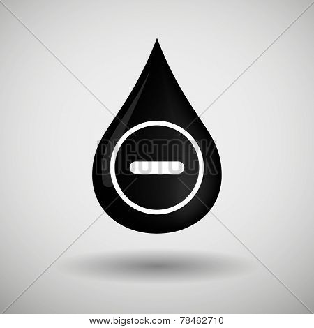 Oil Drop Icon With A Subtraction Sign