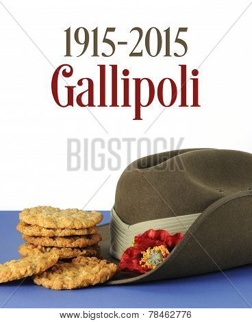 Australian Gallipoli Centenary, Wwi, April 1915, Tribute With Anzac Biscuits, Army Slouch Hat And Sa