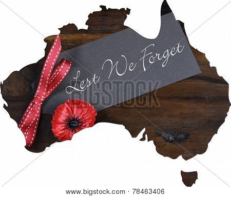 Australian Gallipoli Centenary, Wwi, April 1915, Tribute With Lest We Forget Message And Red Poppy L