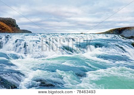 Gullfoss waterfall located in the canyon of Hvita river in southwest Iceland