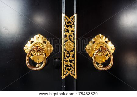 Close Up Of Door In Asakusa Temple With Flower Pattern At Tokyo , Japan