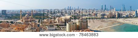 Bird View Wide Panorama Of Manama City, Bahrain