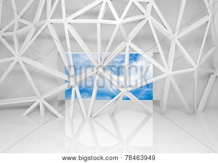 Abstract White Room Interior With Sky In The Window