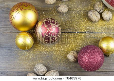 Christmas Decorations On A Old Wood Board