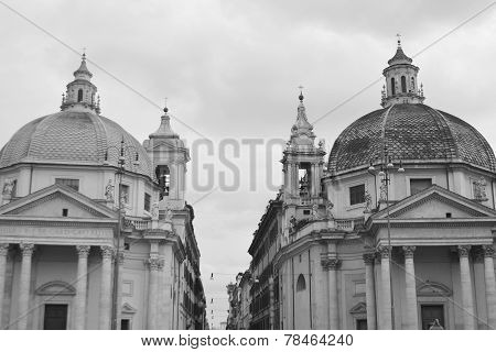 Cathedral On Piazza Del Popolo In Rome.