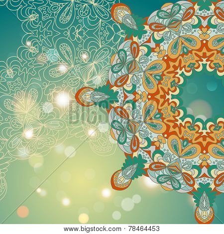 Circle Lace Hand-drawn Abstract Background. Ornament Card. Ornamental Round Pattern