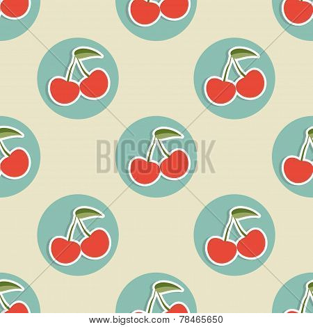 Cherry Pattern. Seamless Texture With Ripe Red Cherries