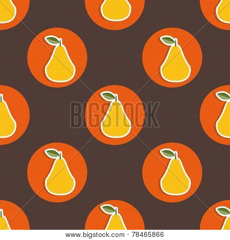 Pear Pattern. Seamless Texture With Ripe Pears
