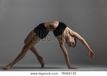 Gymnast Girl Performs Exercise