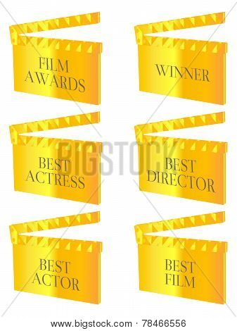 Film Winners Clapperboards Gold