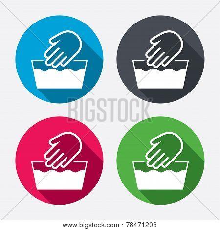 Hand wash sign icon. Not machine washable symbol