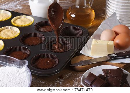 Processes Of Preparation Of Chocolate Muffins Close-up