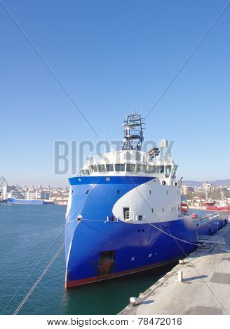 Blue And White Inverted Bow Ship