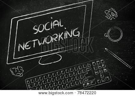 Soial Networking Text On Computer Screen, Desk With Keyboard And Coffee