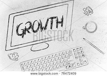 Growth Writing On Computer Screen, Desk With Keyboard And Coffee