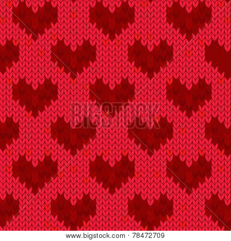 knitted seamless red heart background