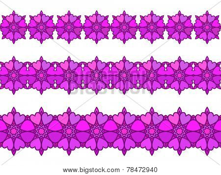 Ornamental heart and flower Seamless border Vector set Magenta color
