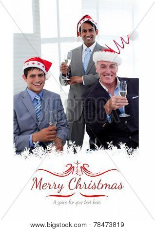 Confident businessmen wearing novelty Christmas hat against border