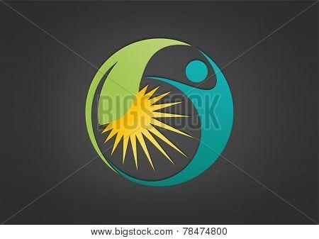 logo healthy life, fitness symbol, farmer design