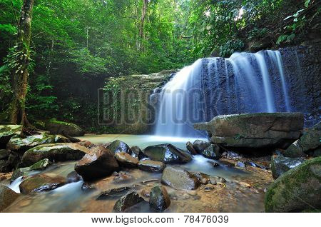 Waterfall In A Borneo Jungle