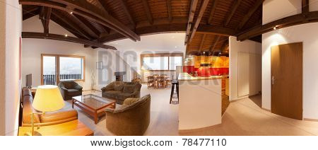 Architecture, comfortable apartment, wide living room